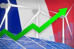 Frankrijk zonne en windenergie het toenemen grafiek, pijl omhoog - groene natuurlijke energie industriële illustratie 3D Illustra royalty-vrije illustratie