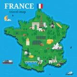 Frankrike översikt för handelsresande med lokal för vektordesign för turist- dragningar stil för lägenhet Royaltyfri Foto