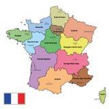 Frankrike översikt med regioner och deras huvudstäder royaltyfri illustrationer