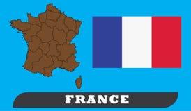 Frankrike översikt och flagga stock illustrationer