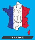 Frankrike översikt och Frankrike flagga vektor illustrationer