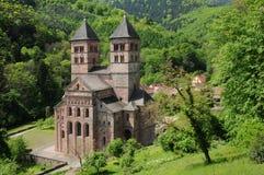 Frankrike den roman abbeyen av Murbach i Alsace Arkivfoto