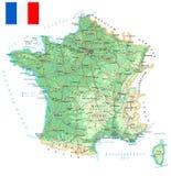 Frankrike - detaljerad topographic översikt - illustration Arkivbild