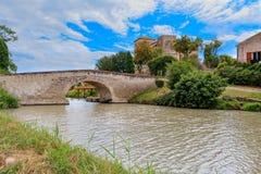 Frankrike ferie, Canal du Midi arkivbild