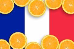 Frankrike flagga i citrusfruktskivahorisontalram fotografering för bildbyråer