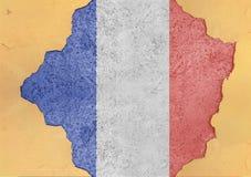Frankrike flaggaabstrakt begrepp i betong för agg för fasadstruktur stor skadad royaltyfria bilder
