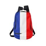 Frankrike flaggaryggsäck som isoleras på vit Fotografering för Bildbyråer