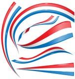 Frankrike flaggauppsättning som isoleras på vit Arkivbild