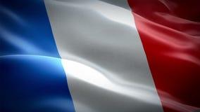 Frankrike flaggavideo som vinkar i vind Realistisk fransk flaggabakgrund Frankrike flagga som kretsar full HD 1920X1080 längd i f stock illustrationer