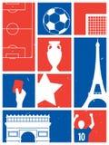 Frankrike fotboll-/fotbollbakgrund Retro affisch för fotboll Royaltyfria Foton