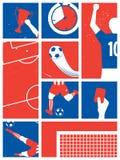 Frankrike fotboll-/fotbollbakgrund Retro affisch för fotboll Arkivbild