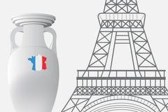 Frankrike fotboll 2016 Mästerskapkopp och Eiffeltorn Royaltyfria Bilder