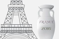 Frankrike fotboll 2016 Mästerskapkopp och Eiffeltorn Royaltyfri Foto
