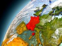 Frankrike från omlopp av modellen Earth Royaltyfria Foton