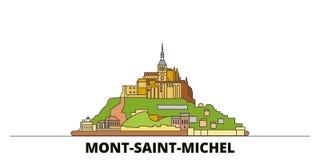 Frankrike illustration för vektor för gränsmärken för Mont Saint Michel And Its fjärd plan Frankrike Mont Saint Michel And Its fj vektor illustrationer