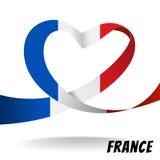 Frankrike landsflagga på hjärtadesign Royaltyfri Bild