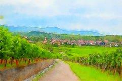Frankrike landskap i Alsace Royaltyfria Bilder