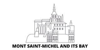 Frankrike linje lopphorisontuppsättning för Mont Saint Michel And Its fjärdgränsmärke Frankrike Mont Saint Michel And Its fj?rdgr stock illustrationer