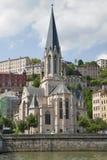 Frankrike Lyon - Augusti 3, 2013: Kyrkan av St George 19th Arkivfoto