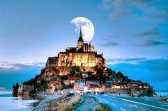 Frankrike Mont Saint Michel arkivfoton