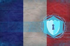 Frankrike nätverkssäkerhet Internetsäkerhetsbegrepp Fotografering för Bildbyråer