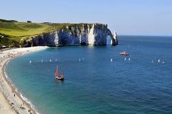 Frankrike Normandie, Etretat Arkivbild