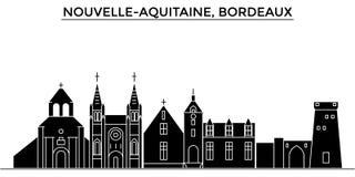 Frankrike Nouvelle Aquitaine, horisont för stad för Bordeaux arkitekturvektor, loppcityscape med gränsmärken, byggnader royaltyfri illustrationer