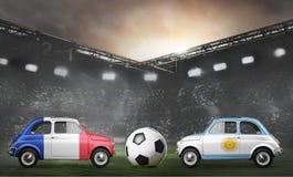Frankrike och Argentina bilar på fotbollsarena arkivbild