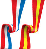Frankrike och Spanien bandflagga Royaltyfri Bild