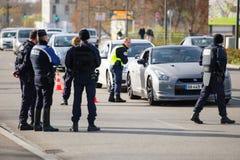 Frankrike Paris anfaller - gränsa bevakning med Tyskland Fotografering för Bildbyråer