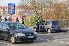 Frankrike Paris anfaller - gränsa bevakning med Tyskland Royaltyfria Foton