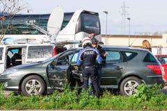 Frankrike Paris anfaller - gränsa bevakning med Tyskland Arkivfoton