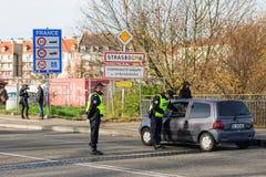 Frankrike Paris anfaller - gränsa bevakning med Tyskland Arkivbilder