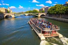 Frankrike Paris, Seine Arkivbild