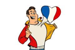 Frankrike patriotman som isoleras på vit bakgrund royaltyfri illustrationer