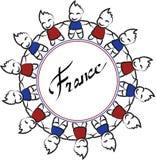 Frankrike runda royaltyfri illustrationer