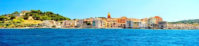 Frankrike - Saint Tropez panorama- foto Arkivbilder