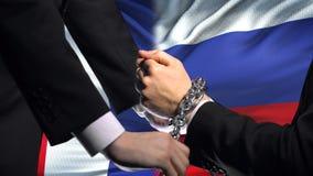 Frankrike sanktionerar Ryssland, den kedjade fast politisk eller ekonomisk konflikten för armar, handelförbud arkivfilmer