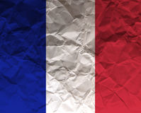 Frankrike skrynklade den papper texturerade flaggan - Arkivfoto