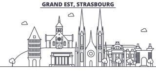 Frankrike Strasbourg arkitekturlinje horisontillustration Linjär vektorcityscape med berömda gränsmärken, stad siktar vektor illustrationer