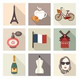 Frankrike symbolsuppsättning royaltyfri illustrationer