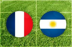 Frankrike vs den Argentina fotbollsmatchen royaltyfri illustrationer