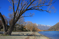 Frankton beach and the Remarkables, Queenstown, New Zealand Stock Images