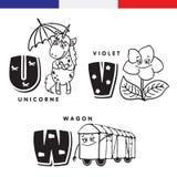 Frans alfabet Eenhoorn, viooltje, spoorauto Vectorbrieven en karakters Stock Afbeelding