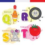 Frans alfabet Kegels, wiel, muis, tomaat Vectorbrieven en karakters Stock Afbeelding