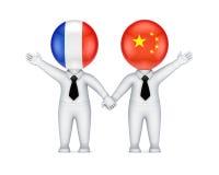 Frans-Chinees samenwerkingsconcept. Stock Afbeelding