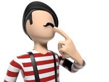 Frans 3D Beeldverhaalkarakter die over iets denken Stock Fotografie
