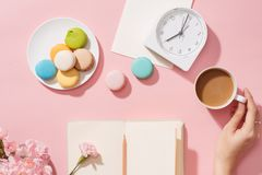 Frans dessert voor gediend met middagthee of koffiepauze royalty-vrije stock foto