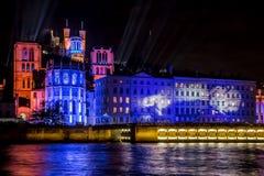 Frans festival van licht in Lyon, stock foto