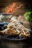 Frans gebakje met pudding stock afbeelding